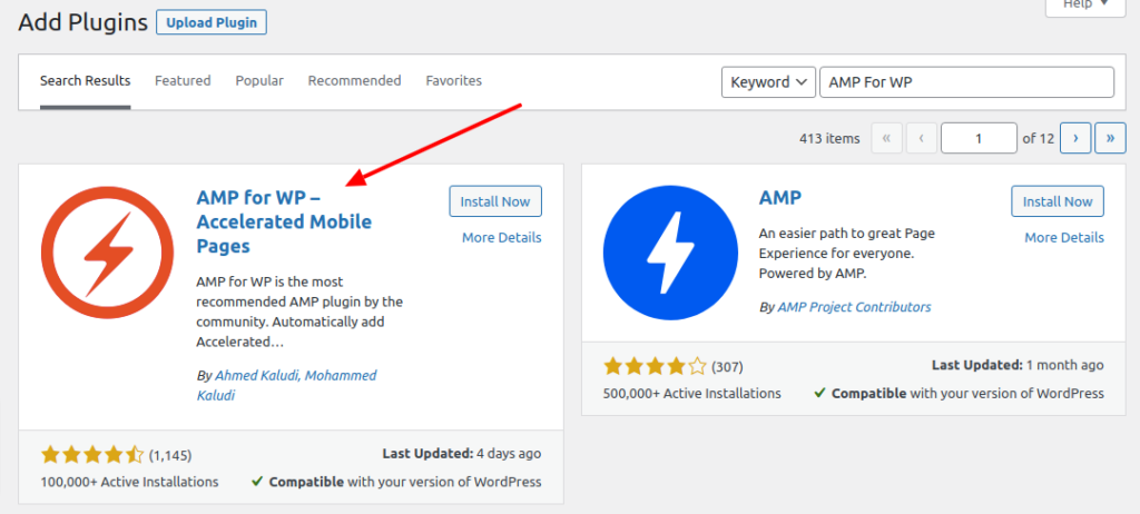 Add AMP for WP plugin to your WordPress site