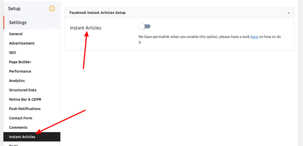 Enable Facebook Instant Articles from advanced settings.